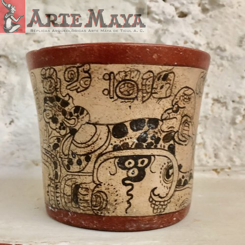 Vaisseau d'une cérémonie maya éventuellement dédié à la vénération de la pluie et de l'eau - Galerie en ligne Boutique de répliques archéologiques faites dans l'art maya